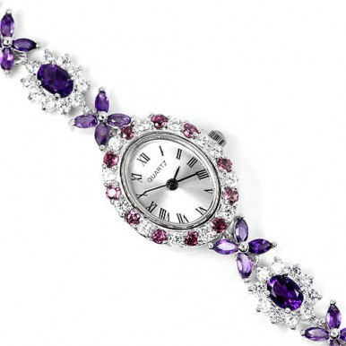 multi colored ladies' sterling silver watch with natural amethyst, rhodolite garnet & CZ