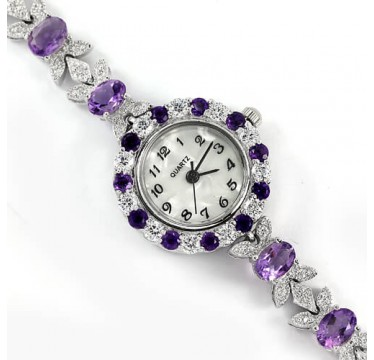 luxury 925 sterling silver 14k white gold ladies watch with natural amethyst & CZ jewels