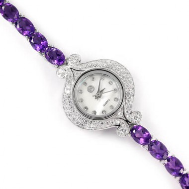 authentic purple amethyst & CZ sterling silver 14k white gold gems ladies wrist watch
