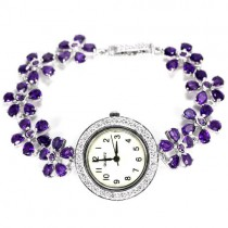 Cute Sterling Silver Women's Flower Watch with Natural Purple Amethyst