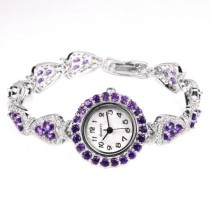 Sparkling Solid Silver Wristwatch for Women with Natural Amethyst & CZ