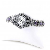 Purple Amethyst & Marcasite Sterling Silver Ladies' Wristwatch