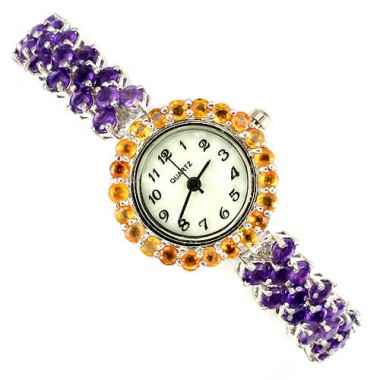 beautiful natural amethyst & yellow sapphire 925 sterling silver 14k gold luxury womens watch