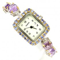 Awesomness Jewellery 925 Sterling Silver Ladies' Wrist Watch with Amethyst & Tanzanite