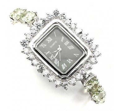 gorgeous natural gems green amethyst & CZ 14k white gold 925 silver womens wrist watch