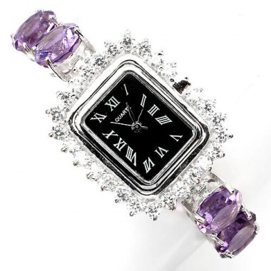 deluxe natural big round brazilian amethyst & CZ 925 sterling silver womens watch