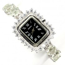 natural jewels nice round green amethyst & CZ 925 sterling silver wrist watch for women