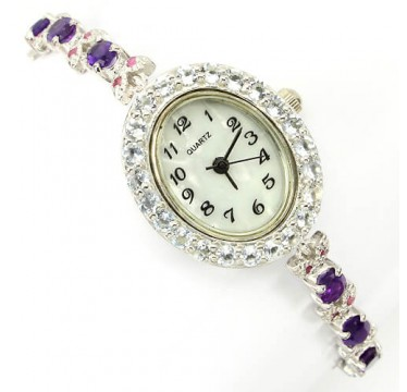 great sterling silver jewelry womens watch with natural amethyst, topaz & ruby