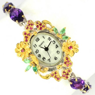 admirable handmade sterling silver ladies' wrist watch with amethyst, emerlad & ruby
