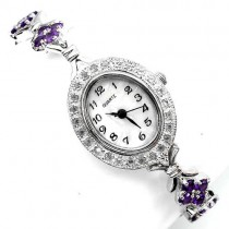 925 sterling silver 14k white gold coating womens wrist watch with natural amethyst & white topaz