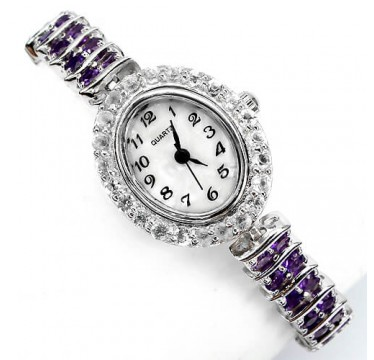 genuine jewels amethyst & white topaz 925 sterling silver ladies wrist watch