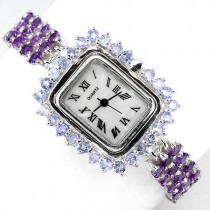 rare natural purple amethyst, violet tanzanite 925 sterling silver womens watch