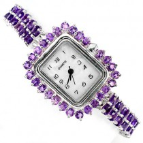 delightful sterling silver jewellery ladies watch with genuine amethyst & mother of pearl