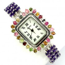 stunning genuine amethyst & fancy sapphire jewels 925 silver womens watch