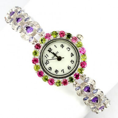 really authentic amethyst, tanzanite & fancy tourmaline sterling silver luxury women's watch
