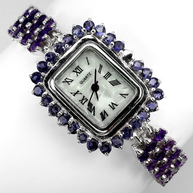 awesome genuine jewels purple amethyst & iolite 925 sterling silver ladies wrist watch