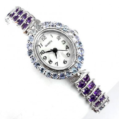 natural jewels amethyst & violet tanzanite 14k white gold 925 sterling silver watch for women