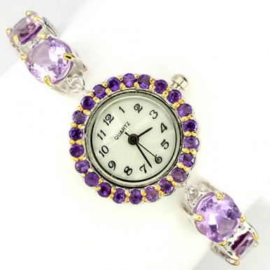 Lovely Fashion 925 Sterling Silver Wrist Watch for Women with Purple Amethyst