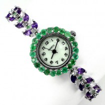 Precious Sterling Silver & 14k White Gold Watch for Women With Amethyst & Emerald
