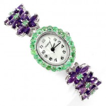 graceful sterling silver womens jewelry wrist watch with genuine amethyst & emerald