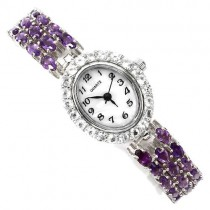 refind 925 sterling silver wrist watch for ladies with genuine amethyst & white topaz