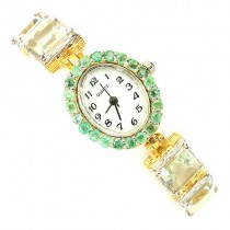 Adorable Sterling Silver & Yellow Gold Women's Wrist Watch with Amethyst & Emerald