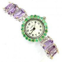 Sumptuous Sterling Silver Bracelet Wrist Watch with Big Amethyst & Emerald