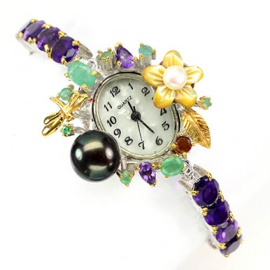 Handmade Jewelry Women's Sterling Silver Watch with Genuine Amethyst