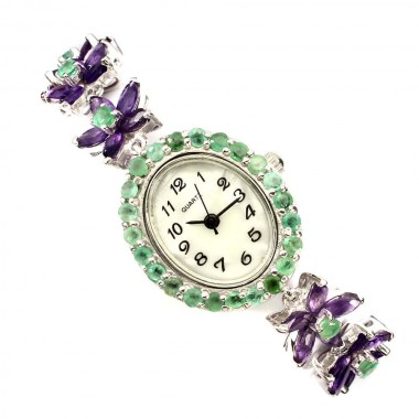 "Glorious ""Flower"" Sterling Silver Ladies' Watch with Natural Amethyst & Emerald"