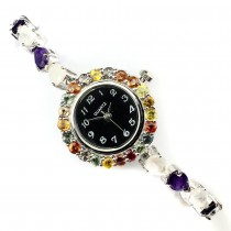 Exquisite Natural Moonstone Amethyst Songea Sapphire Silver Watch