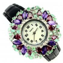 Graceful Sterling Silver Watch with Amethyst, Garnet, & Leather Strap
