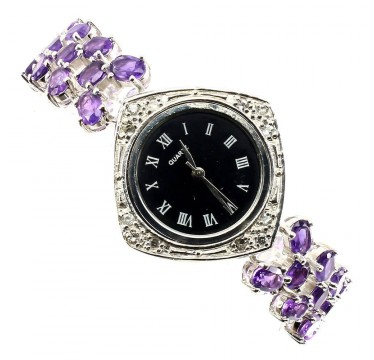 Natural Amethyst & White Topaz Sterling Silver Ladies' Wristwatch