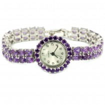 Beautiful Sterling Silver Ladies' Wrist Watch with Natural Amethyst