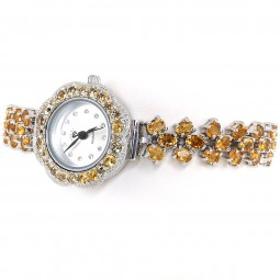 Yellow Citrine Genuine Stones Real 925 Silver Wrist Watch for Women
