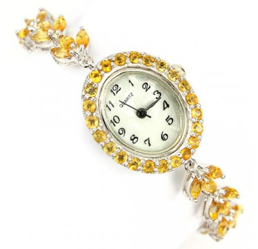 ravishing natural yellow citrine gem luxury 925 sterling silver 14k gold ladies wrist watch