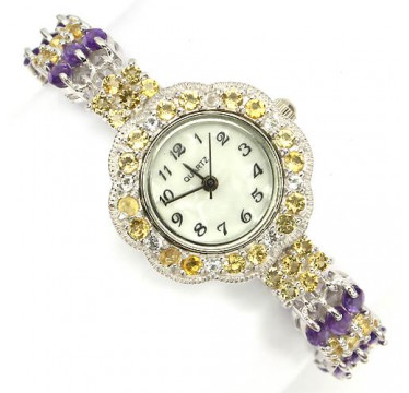 precious jewelry womens watch 925 sterling silver genuine citrine, amethyst & white topaz