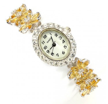 Jewelry Sterling Silver Bracelet Watch for Women With Natural Citrine