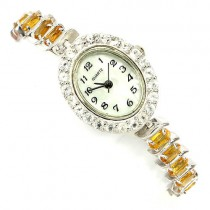 Deluxe Sterling Silver Women's Bracelet Wrist Watch with Citrine & Topaz