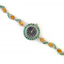 Elegant Design Sterling Silver Watch for Women with Citrine & Emerald