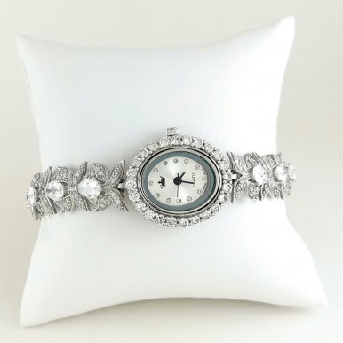 Flower Links Design Sterling Silver Watch with Cubic Zirconia