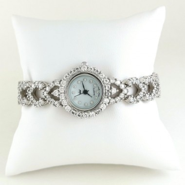 Heart Link Design Cubic Zirconia Sterling Silver Ladies' Wristwatch