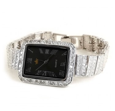 Rectangle Dial 925 Silver Ladies' Watch with Colorless Cubic Zirconia