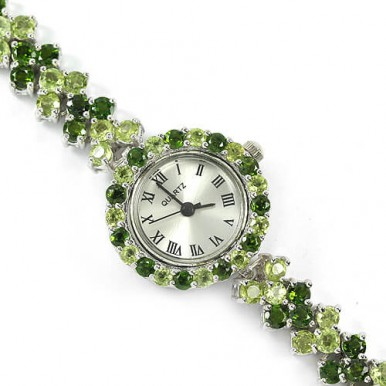 natural 100 pcs. green chrome-diopside & peridot sterling 925 silver womens watch