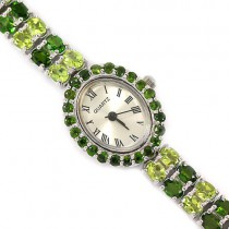 luxury natural chrome-diopside & peridot sterling silver jewellery wrist watch for ladies