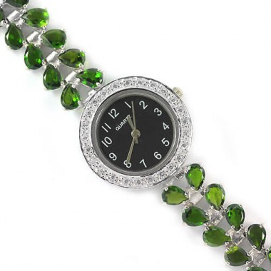 natural AAA green chrome-diopside & CZ jewellery ladies 925 sterling silver wrist watch