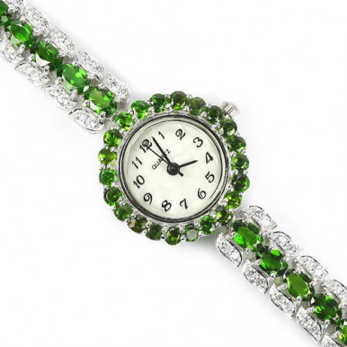 natural geems AAA green chrome-diopside & CZ 14k white gold 925  silver womens wrist watch