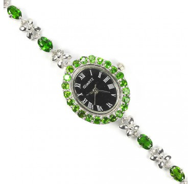 natural jewels green chrome-diopside 14k white gold 925 silver womens wrist watch