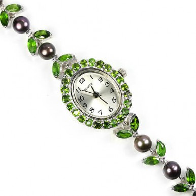 Real AAA chrome-diopside & pearl 925 sterling silver 14k gold jewelry wrist watch for women
