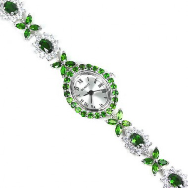 Adorable Sterling Silver Bracelet Watch for Women With Chrome Diopside