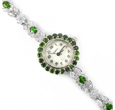 authentic jewels green chrome-diopside & CZ 925 sterling silver ladies wrist watch